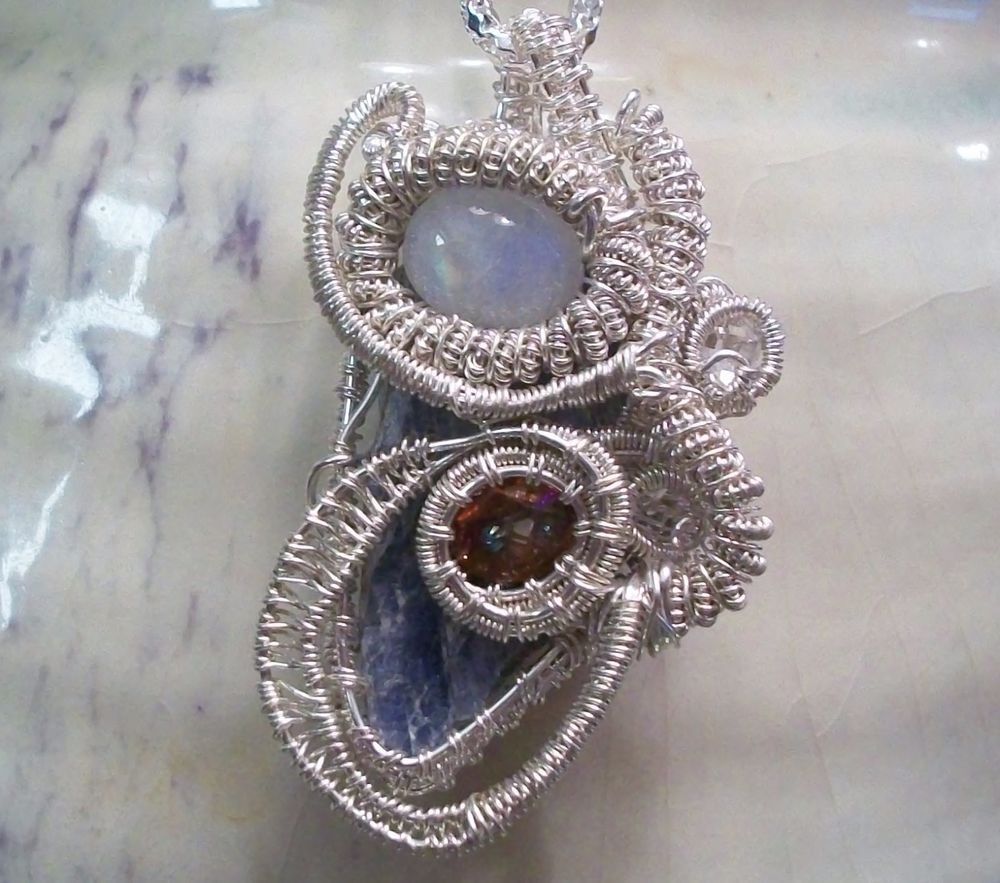 Kyanite Moonstone Mystic Topaz Freeform Heady Wire Wrap Pendant ...