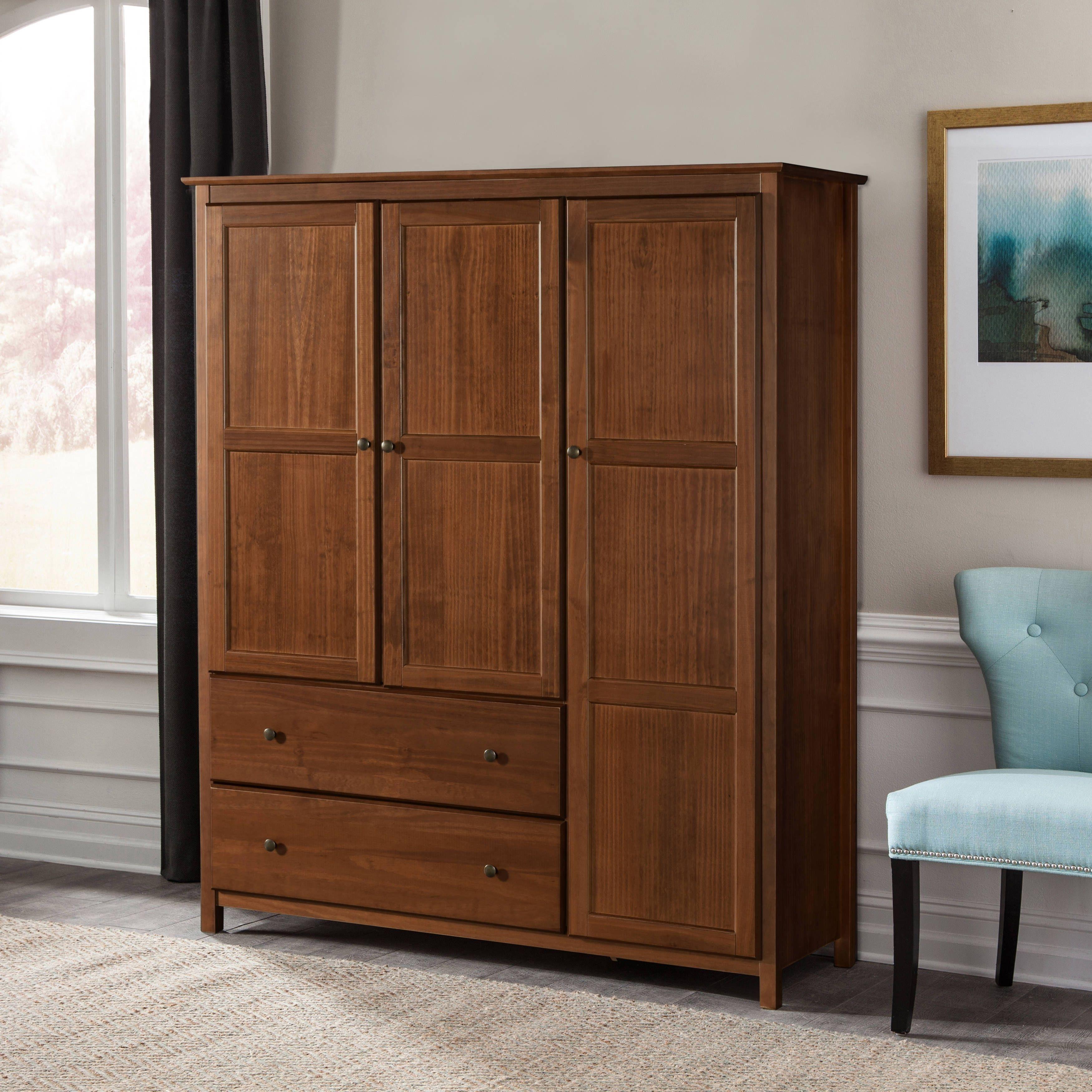 Grain Wood Furniture Shaker 3 Door Solid Armoire Walnut Finish