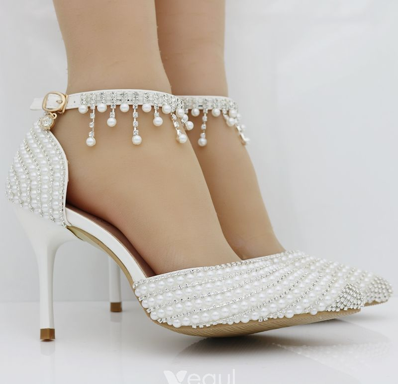 Sparkly White Wedding Shoes 2018 Pearl Rhinestone Ankle Strap 6 cm Stiletto  Heels Pointed Toe Wedding High Heels 86702f95be9c