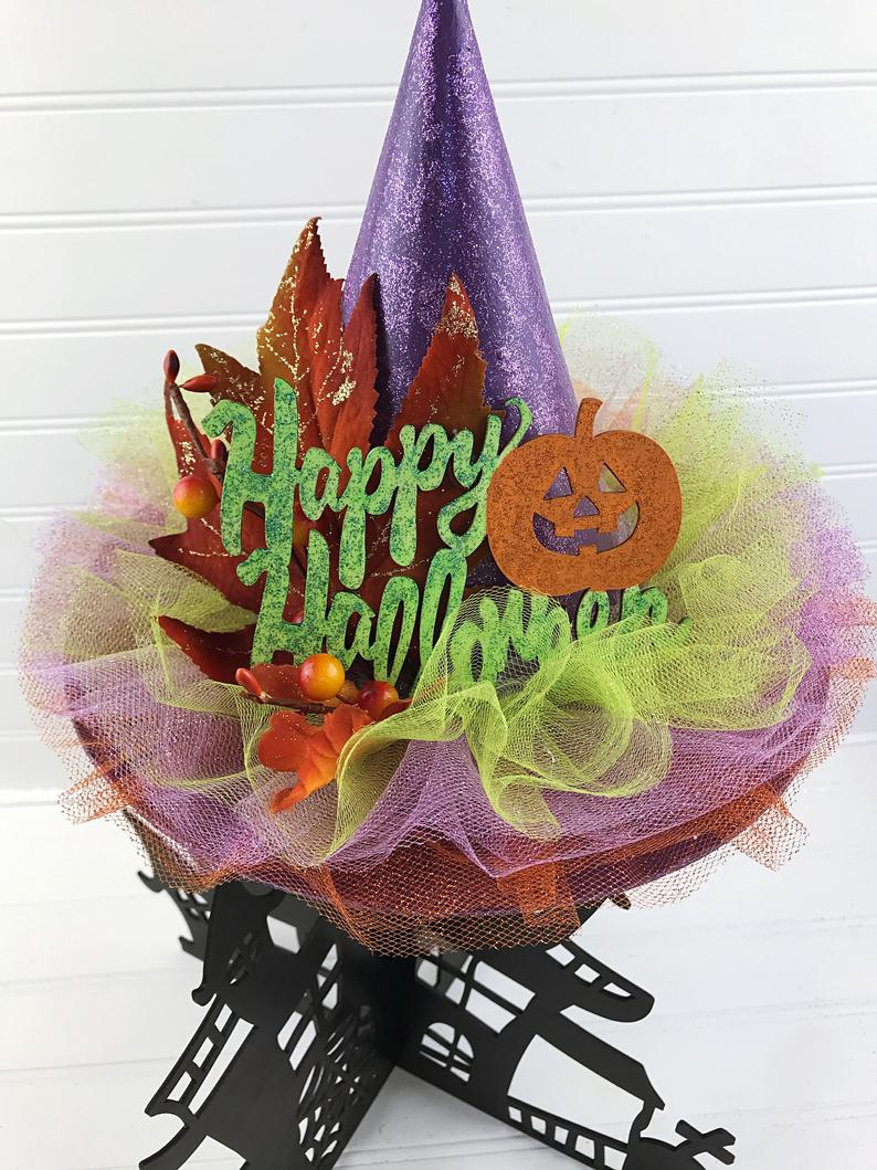 Foliage Trees On Halloween 2020 Halloween Decor LARGE Witch Hat Purple with Tulle Foliage & | Etsy