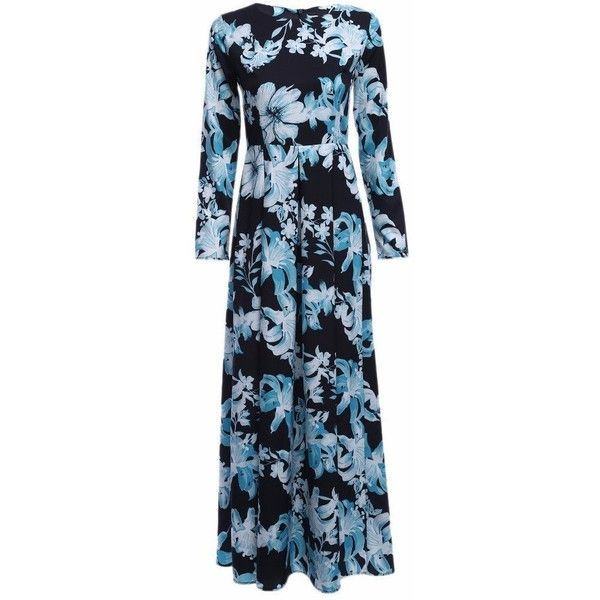 Long Sleeved Vintage Floral Print Dress (1.615 RUB) ❤ liked on Polyvore featuring dresses, long-sleeve floral dresses, vintage floral print dress, long sleeve floral dress, blue long sleeve dress and vintage day dress