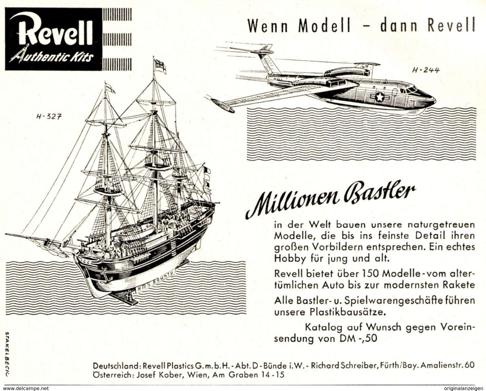 Original-Werbung/ Anzeige 1959 - REVELL PLASTICS / MODELLE - BÜNDE - Ca. 135 X 100 Mm - Werbung