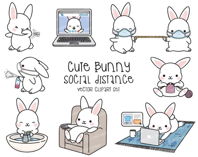 Premium Vector Clipart Kawaii Bunny Cute Bunny Social Etsy In 2021 Kawaii Clipart Kawaii Bunny Clip Art