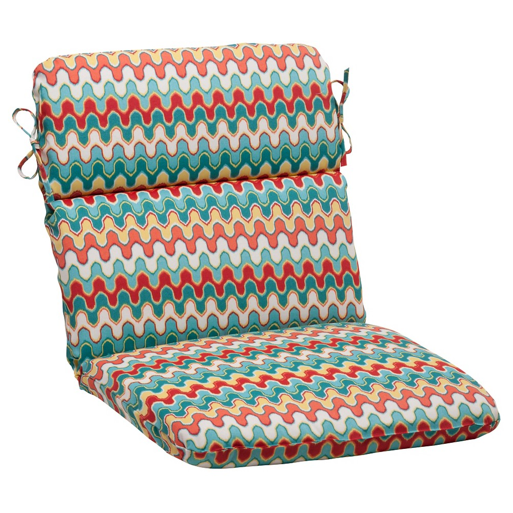 Pillow perfect outdoor rounded chair cushion redturquoise chevron