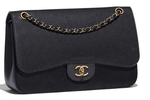 9e302b94f8b5 CHANEL Large Classic Flap Bag  Grained Calfskin + Gold-Tone Metal  Black