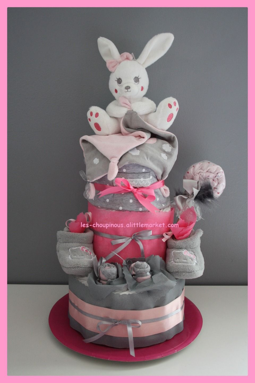 cadeau original naissance bapt me fille rose gris rose. Black Bedroom Furniture Sets. Home Design Ideas