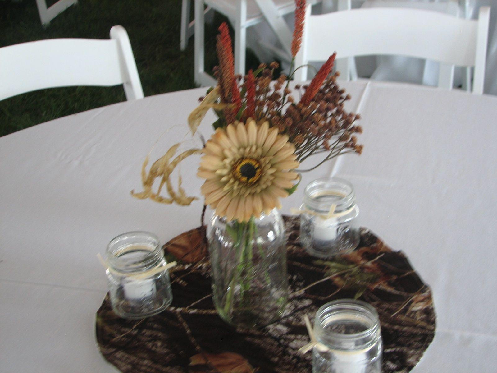 Centerpiece Off Site Tent Reception Camo Kim And Joe Weddings