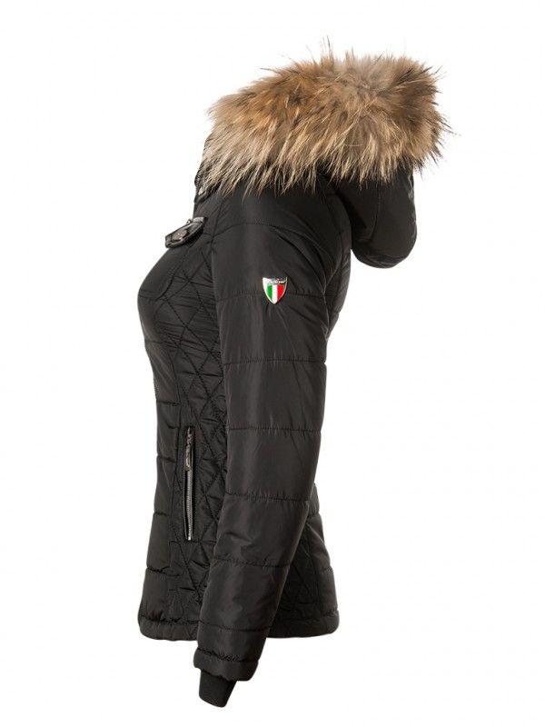 Milano Jacke Winter Mit Pelzkragen Damen Schwarz Tesoro 04s drCoexB