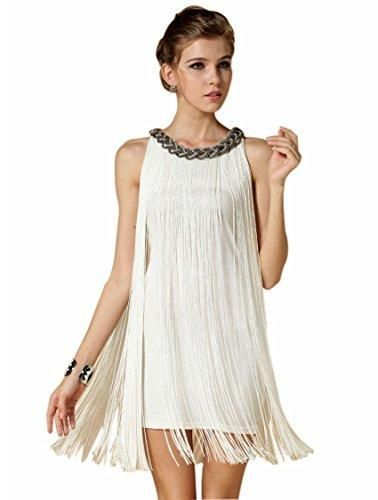 1920s V Neck Beaded Fringed Great Gatsby Dress Dressescasualtail