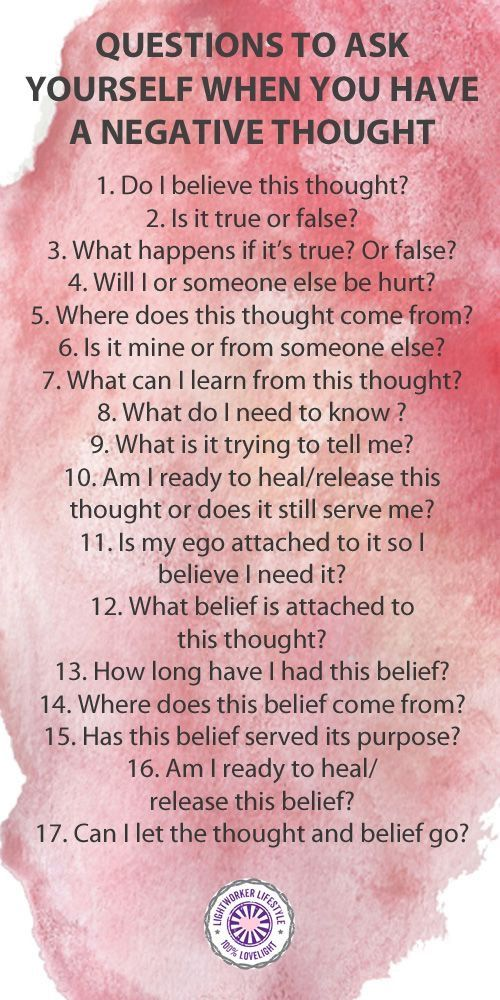 Questions to ask yourself when you have a negative thought