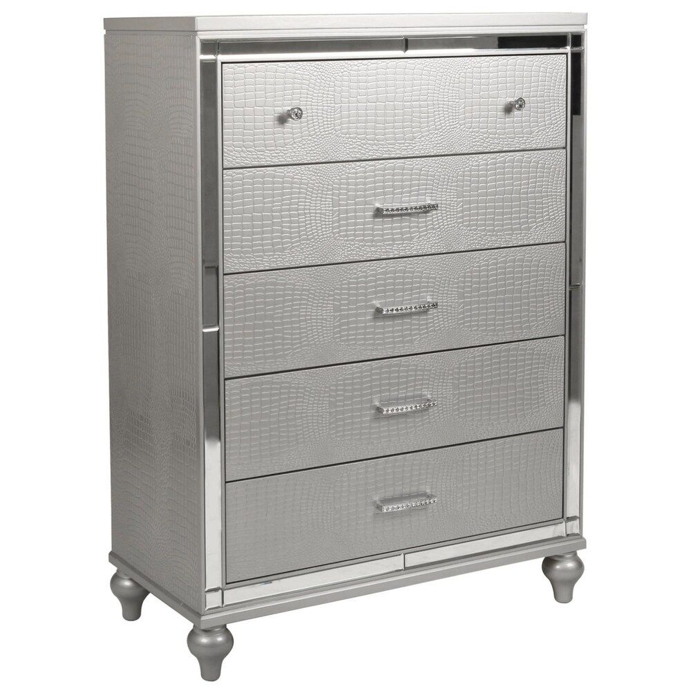 Silver Orchid Burke Silver 5drawer Chest in 2020
