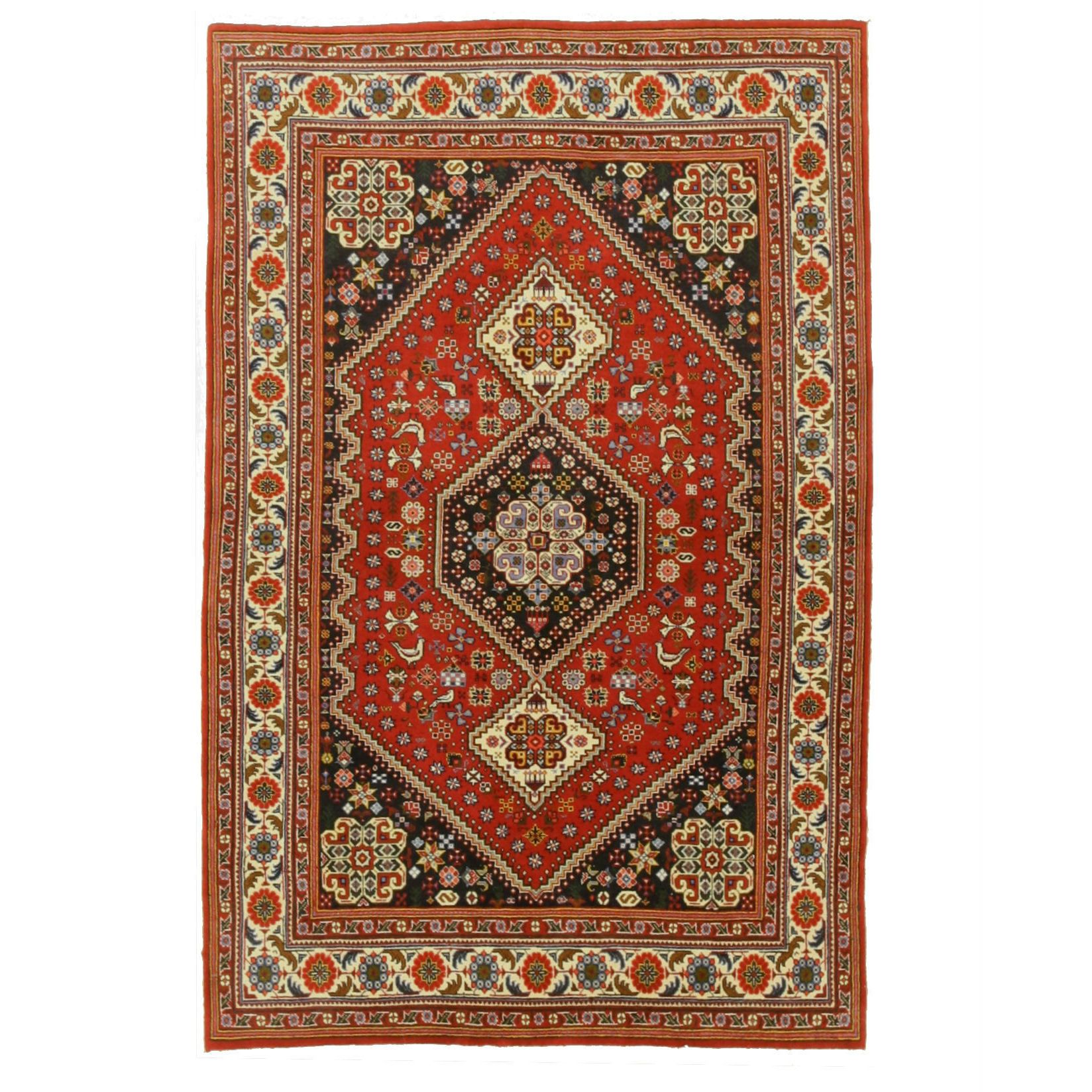 EORC Refurbished Eastern Oriental Rug Center Hand Knotted Wool Red Abadeh Rug (4'1 x 6'5) (4'1 x 6'5), Size 4' x 6'