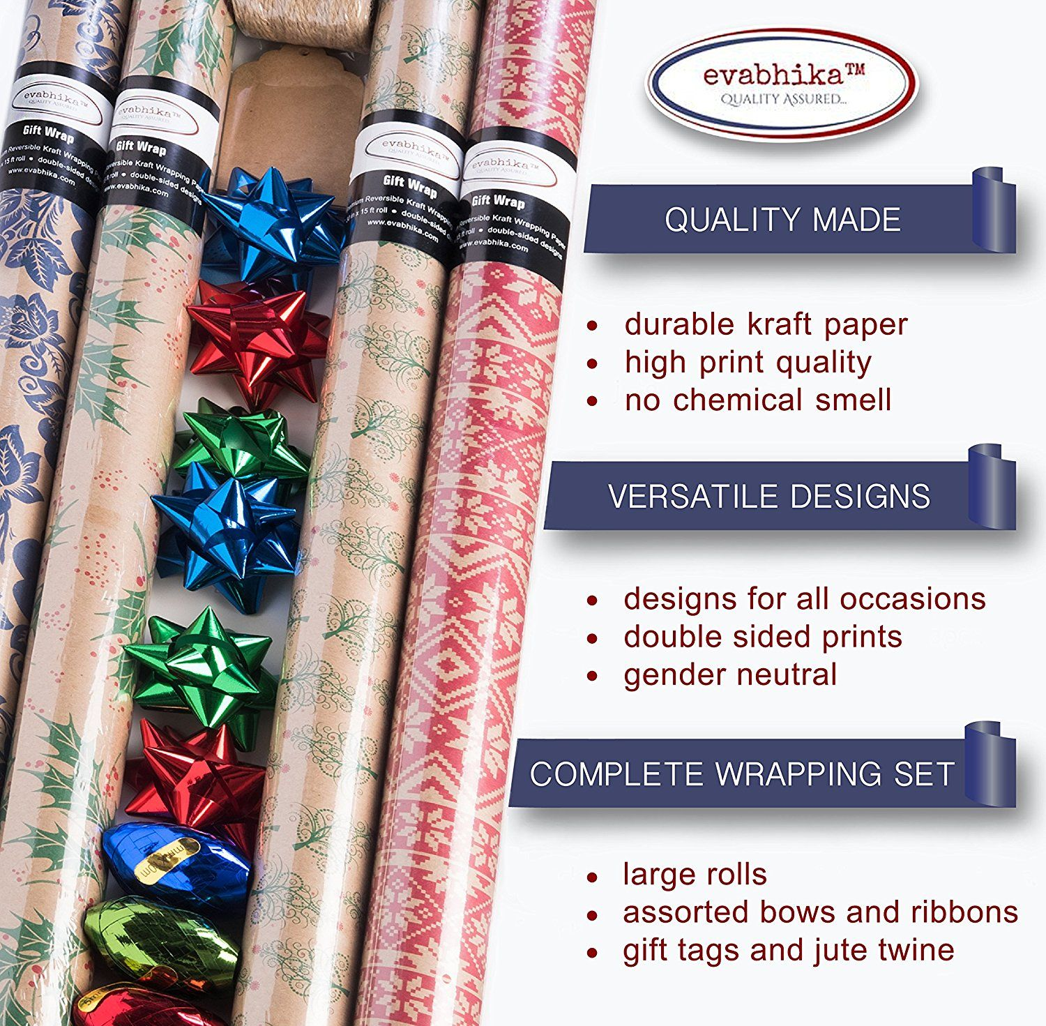 Amazon Com Kraft Wrapping Paper Set Gift Wrap With Reversible Designs For Birthday Baby S Wrapping Paper Rolls Kraft Paper Wrapping Gift Wrapping