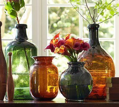 Recycled Glass Bottle Vases #potterybarn