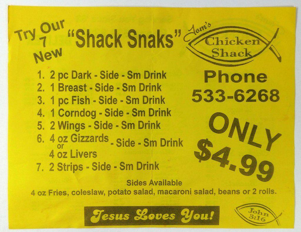 Original Menu TOM'S CHICKEN SHACK Restaurant Bartow