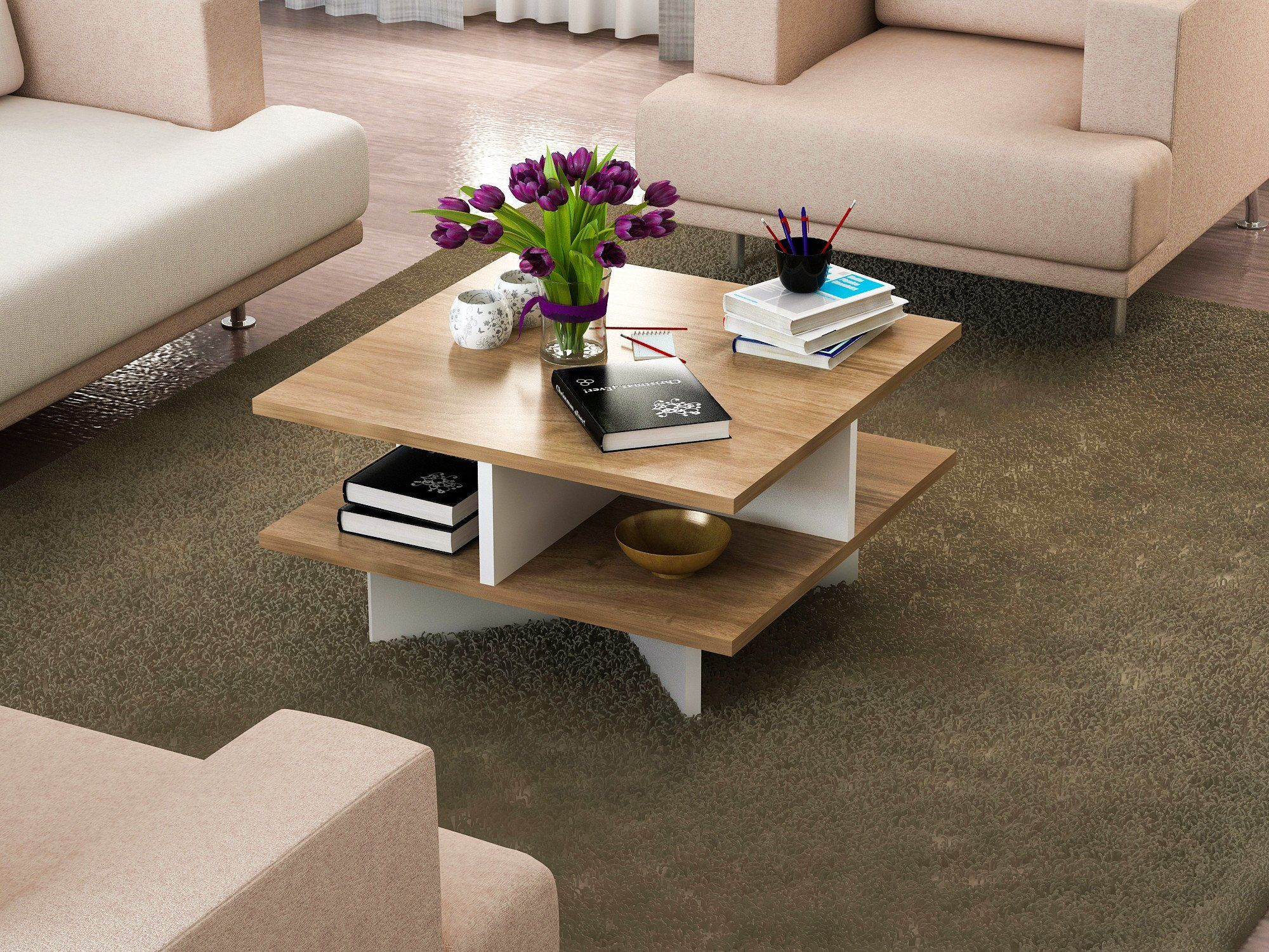 Lamodahome Modern Coffee Table Whitebrown Wooden Appearance Square Cocktail Table With Storage Multi Functional R Coffee Table Square Cocktail Table Furniture [ 1500 x 2000 Pixel ]