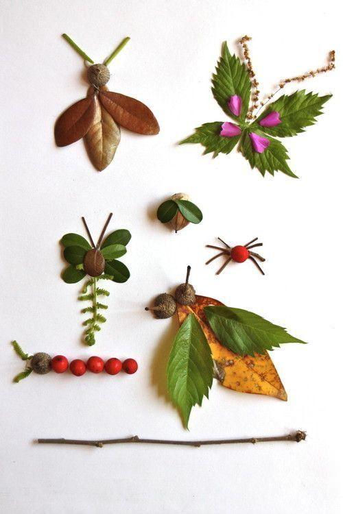 7 manualidades con hojas de oto o para ni os hojas de for Decoracion con hojas secas