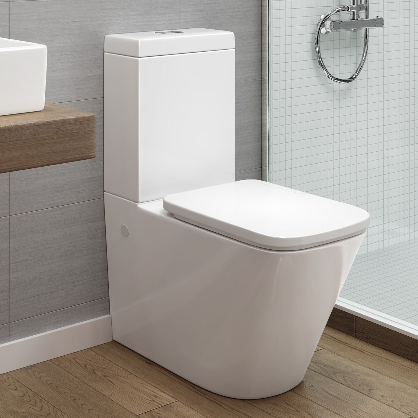 Florence Rimless Back to Wall Toilet inc Luxury Soft Close Seat ...