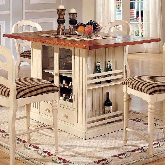 Linden Counter Height Island Kitchen Table With Storage