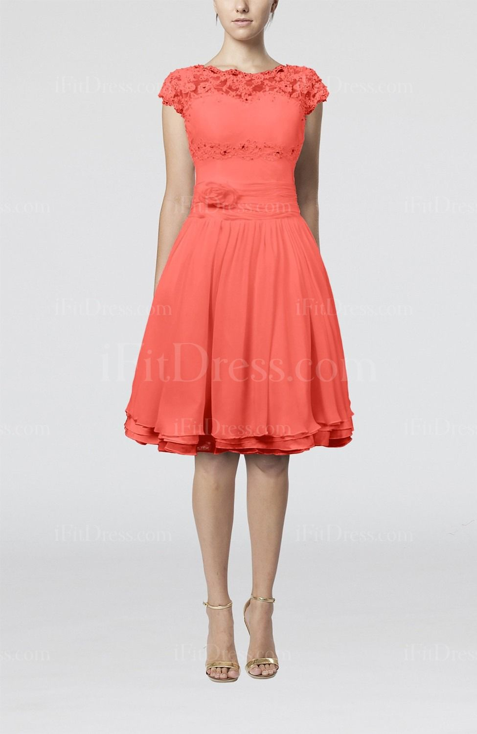 Living Coral Cinderella Scalloped Edge Short Sleeve Chiffon Knee Length Lace Bridesmaid Dresses - iFitDress.com