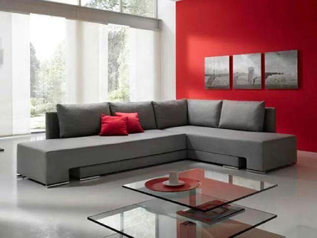 Sala rojo gris home muebles sala sala de estar - Muebles grises paredes color ...