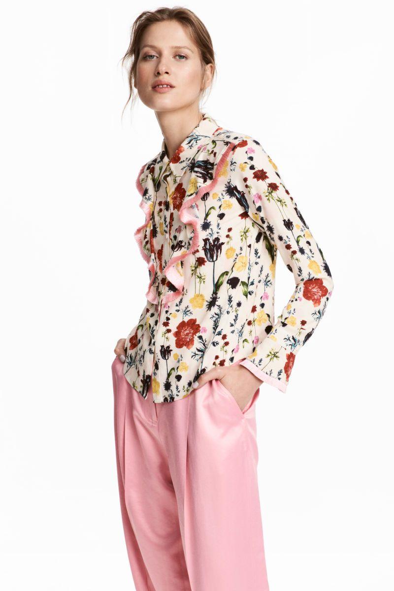 fd7592c2c7d195 Shirt with Flounces | Natural white/floral | WOMEN | H&M US ...