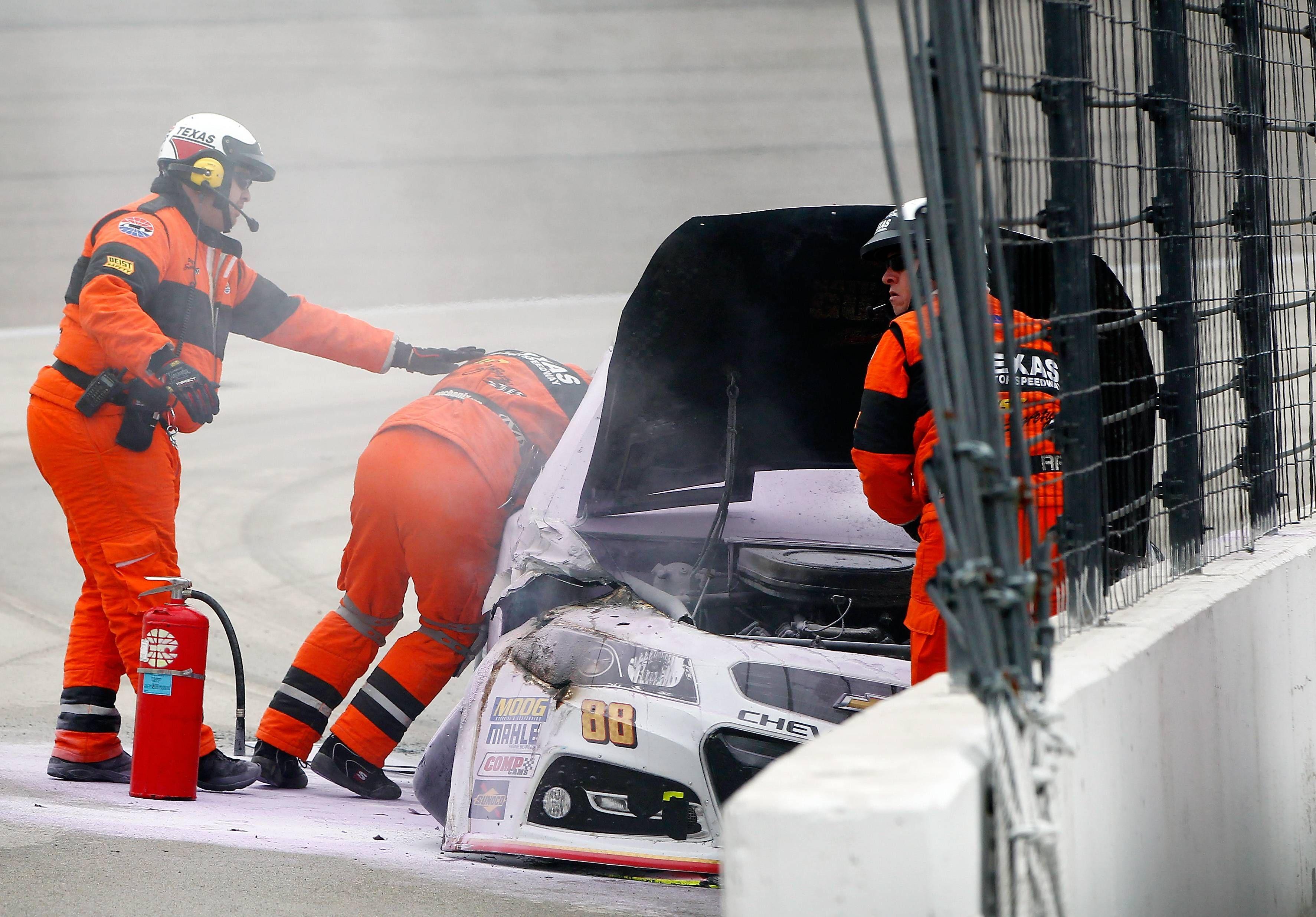 Dale earnhardt jr survives fiery tms crash wrecks