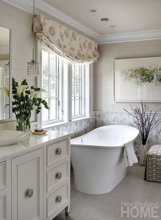 Bathroom Relaxed Faux Roman Shade Valance In Barbara