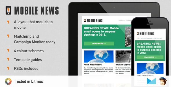 Mobile News - A Responsive Newsletter Template Recursos de - email newsletter template