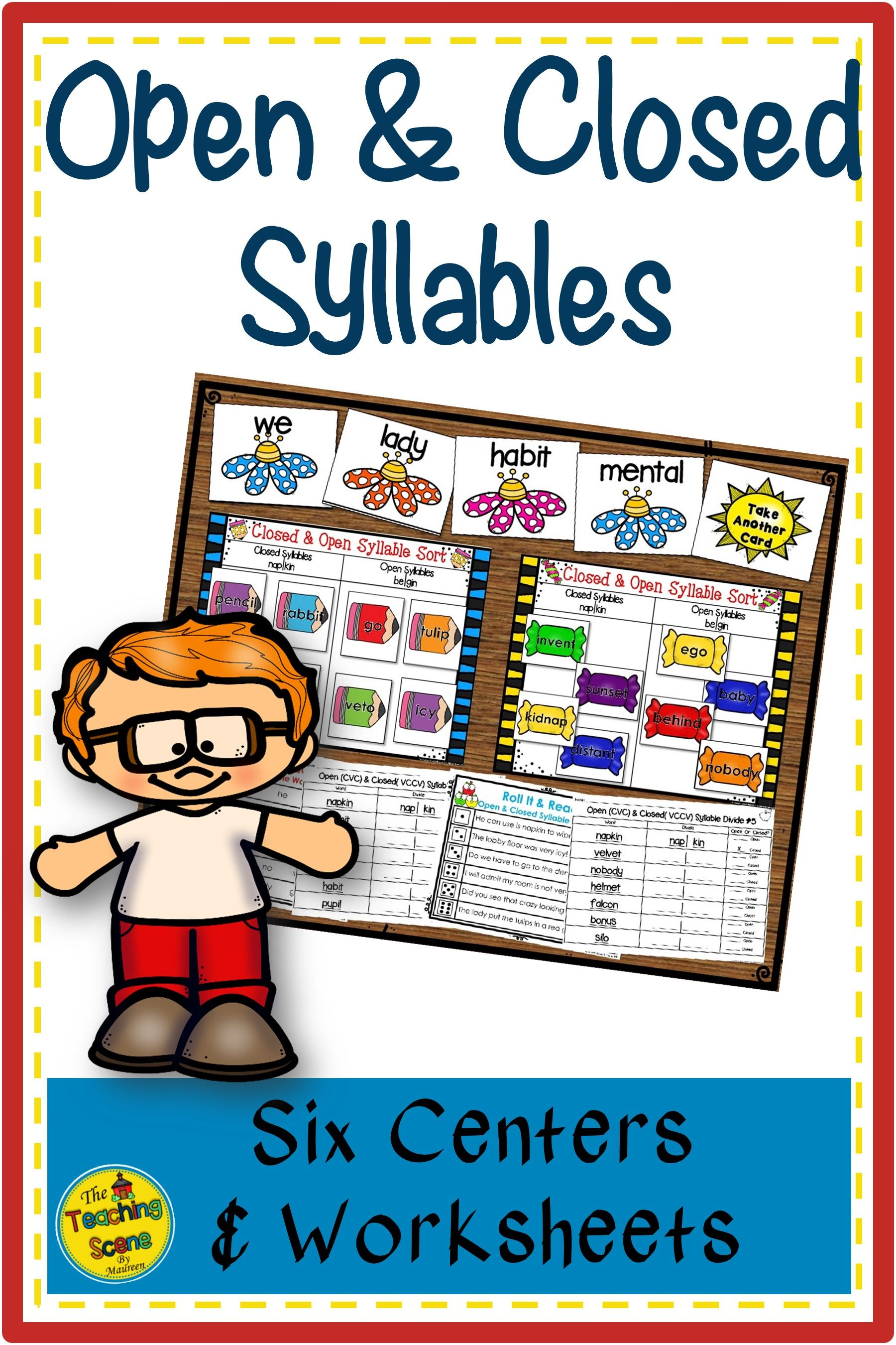 Open \u0026 Closed Syllables Centers \u0026 Worksheets   Closed syllables [ 2700 x 1800 Pixel ]