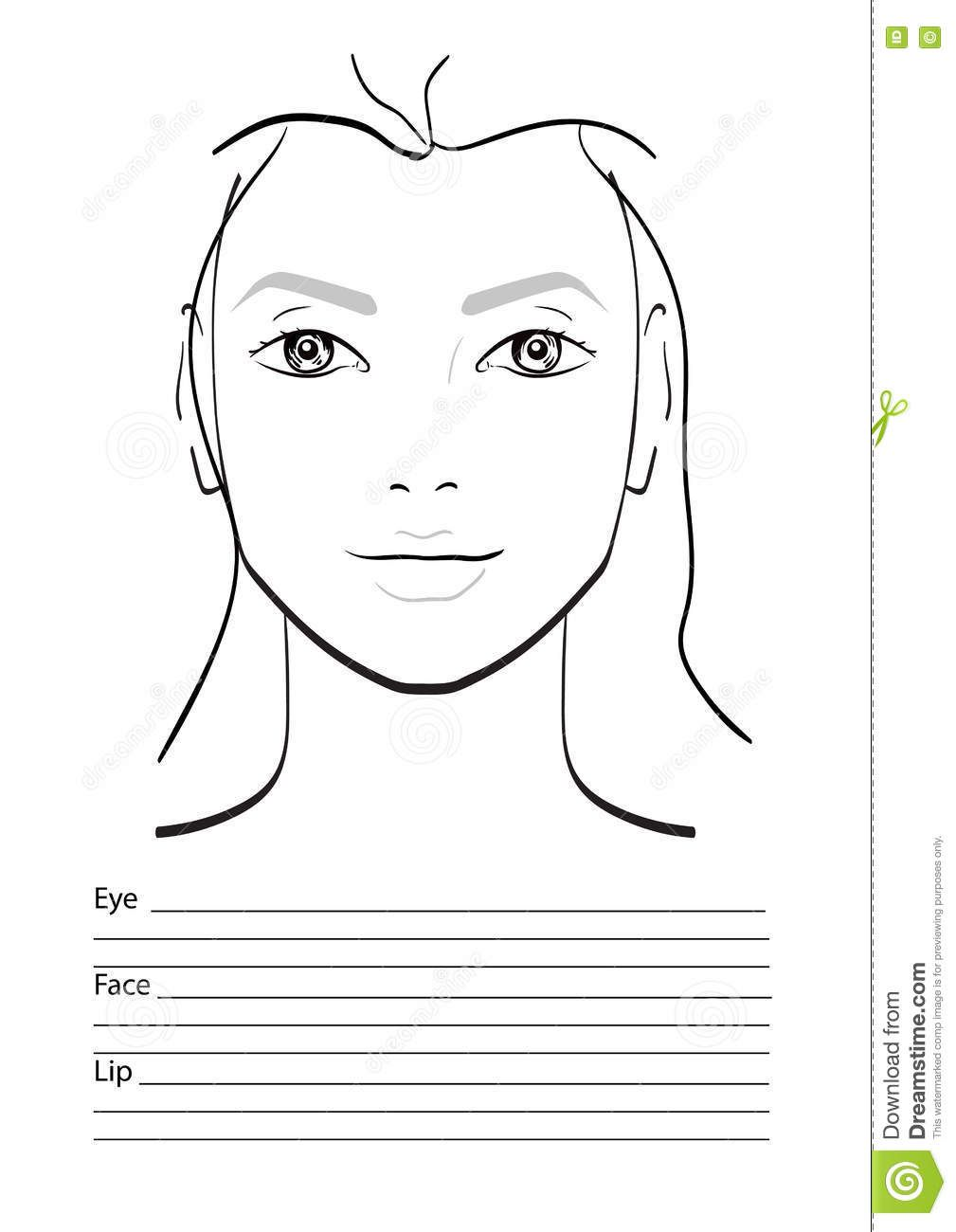 Exact Blank Face Chart To Print Paper For Makeup Face ...