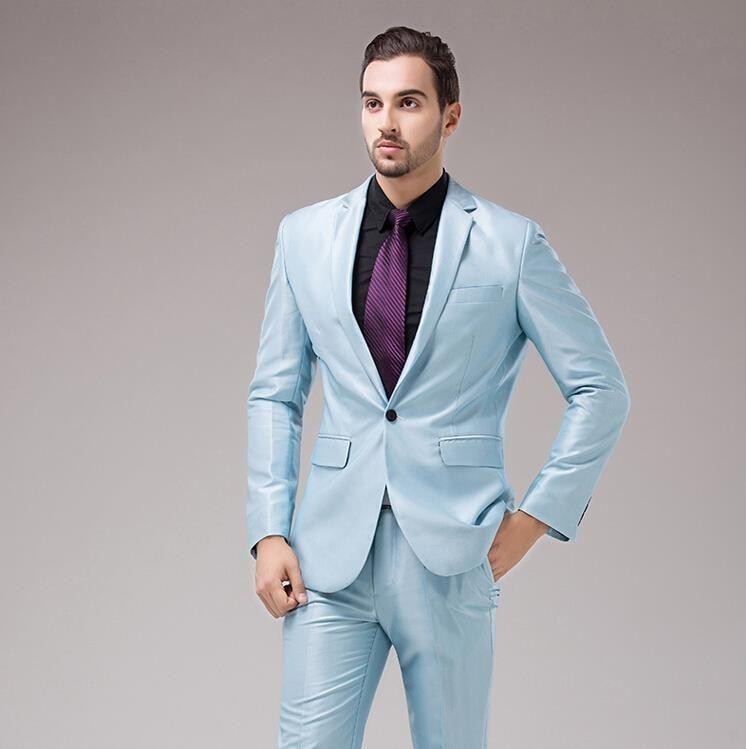 Latest Coat Pant Designs Light Blue Satin Wedding Suits For Men Slim ...