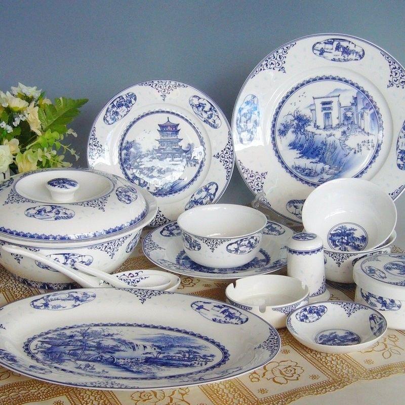Authentic Bone China Tableware 56 Heads Of Jingdezhen Blue And