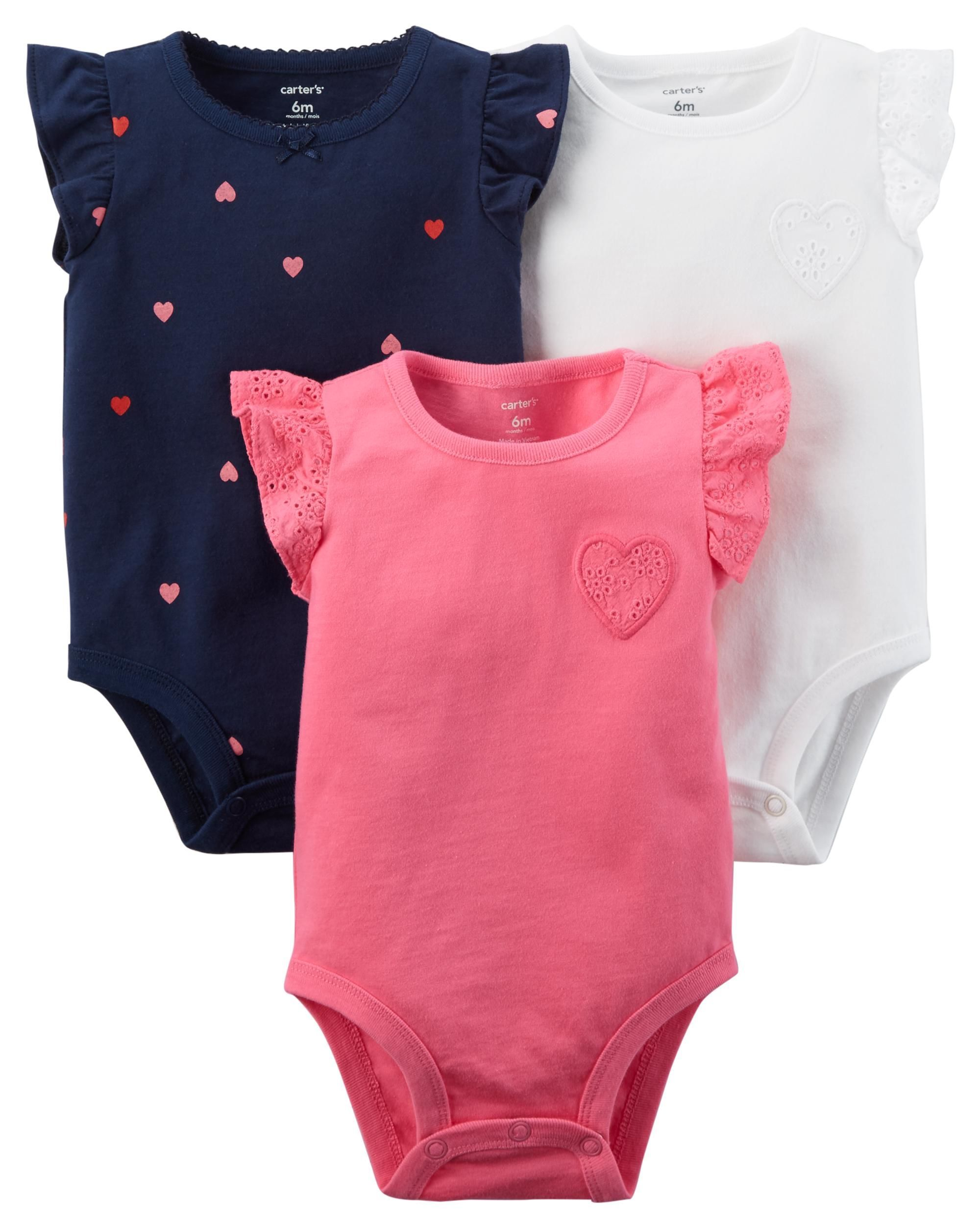 4657d10ea You can never have enough bodysuits! This pack features 3 flutter-sleeve  bodysuits with sweet heart prints.