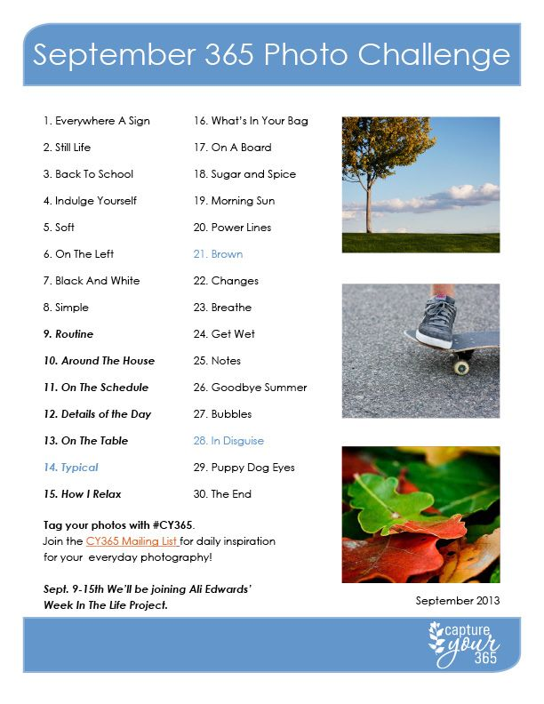 September CY365 Photo Challenge List