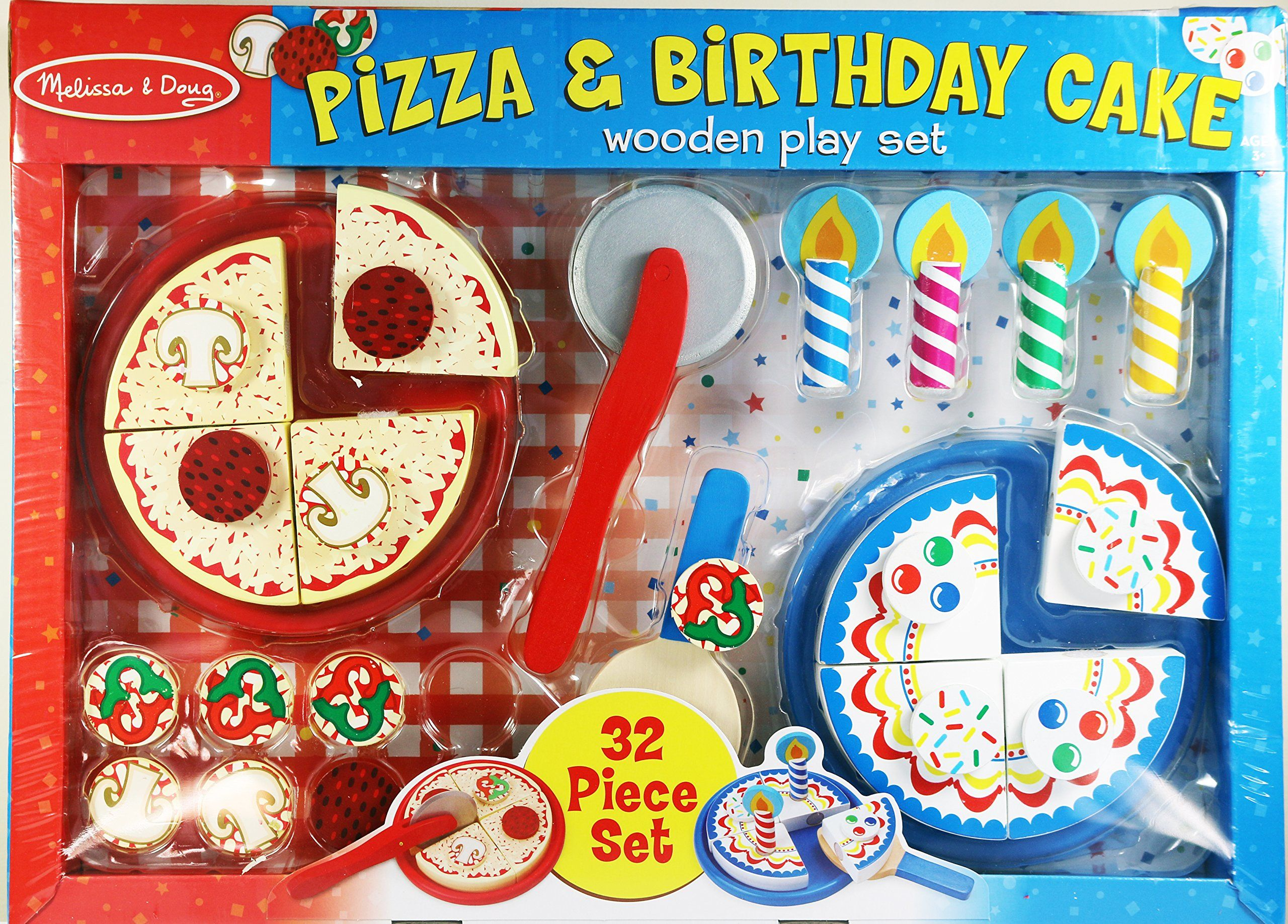 Melissa doug pizza birthday cake wooden play set