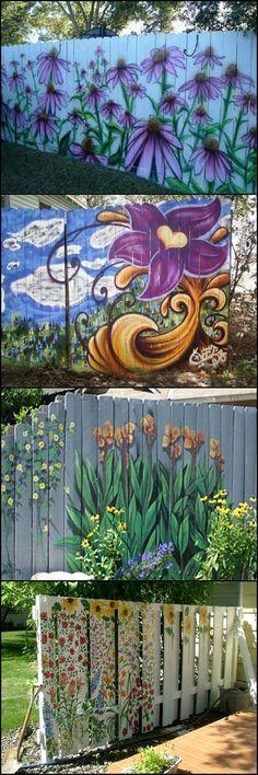 Dream fence mural fence painting garden pinterest for Jardines murales