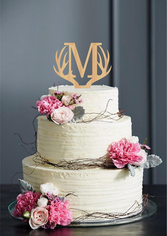 Letter M Cake Topper Antlers Wedding Cake Topper Personalised