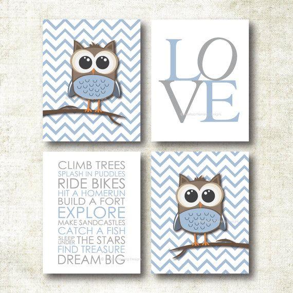 Baby Boy Nursery Art Chevron Owl Prints