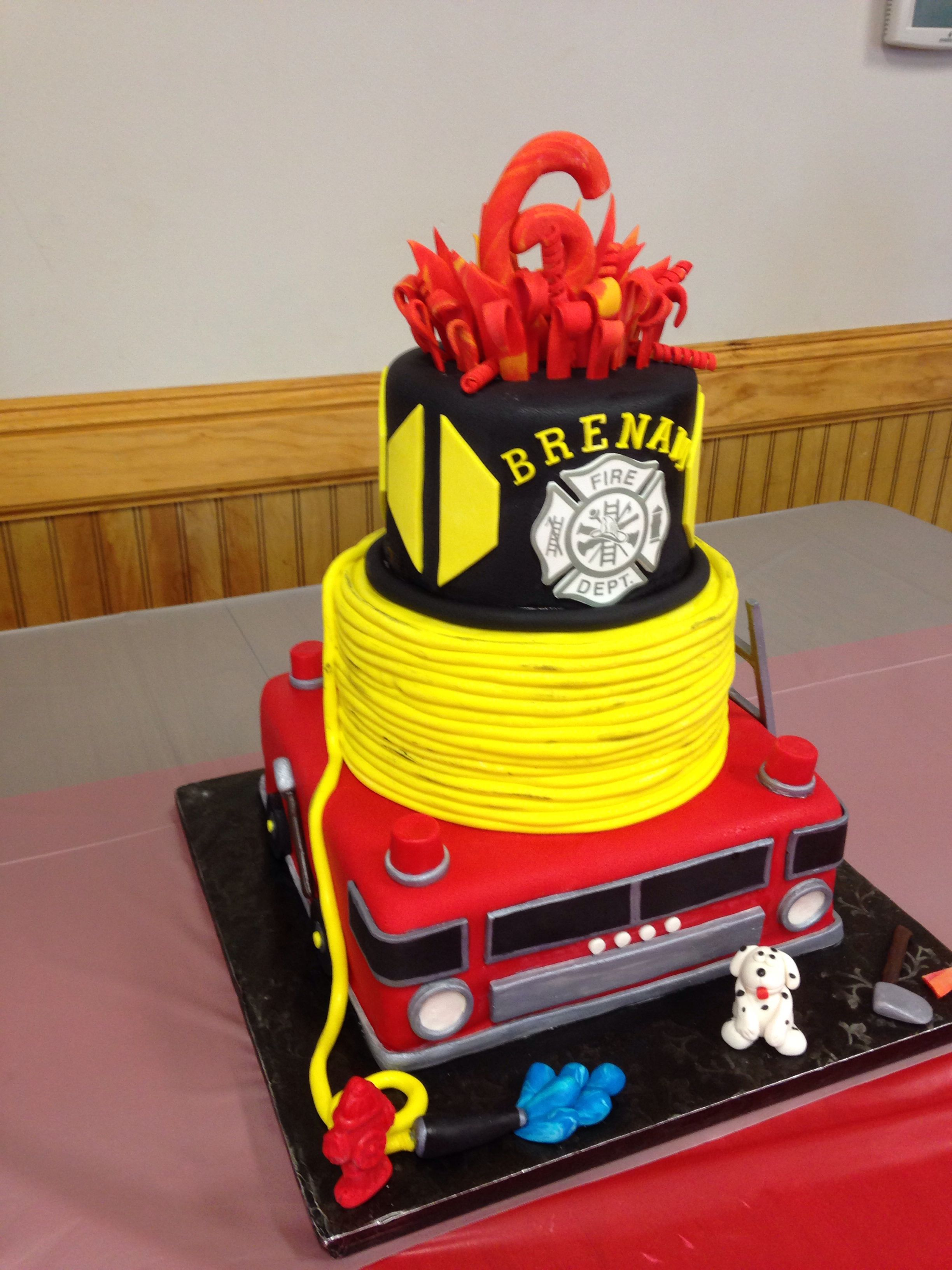 Astonishing Multi Tier Fire Department Cake Shared By Lion Fire Fighter Personalised Birthday Cards Veneteletsinfo