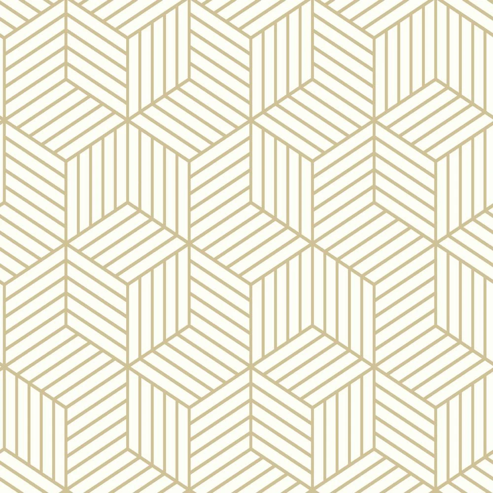 Stripped Hexagon Peel Stick Wallpaper In White And Gold By Roommates In 2020 White And Gold Wallpaper Peel And Stick Wallpaper Vinyl Wallpaper