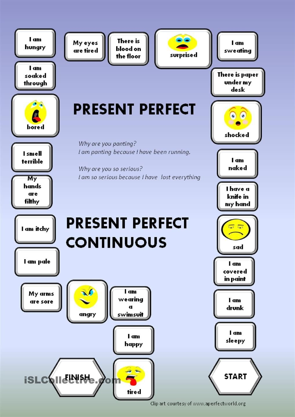 Present Perfect Present Perfect Continuous A Boardgame Present Perfect Board Games Perfection