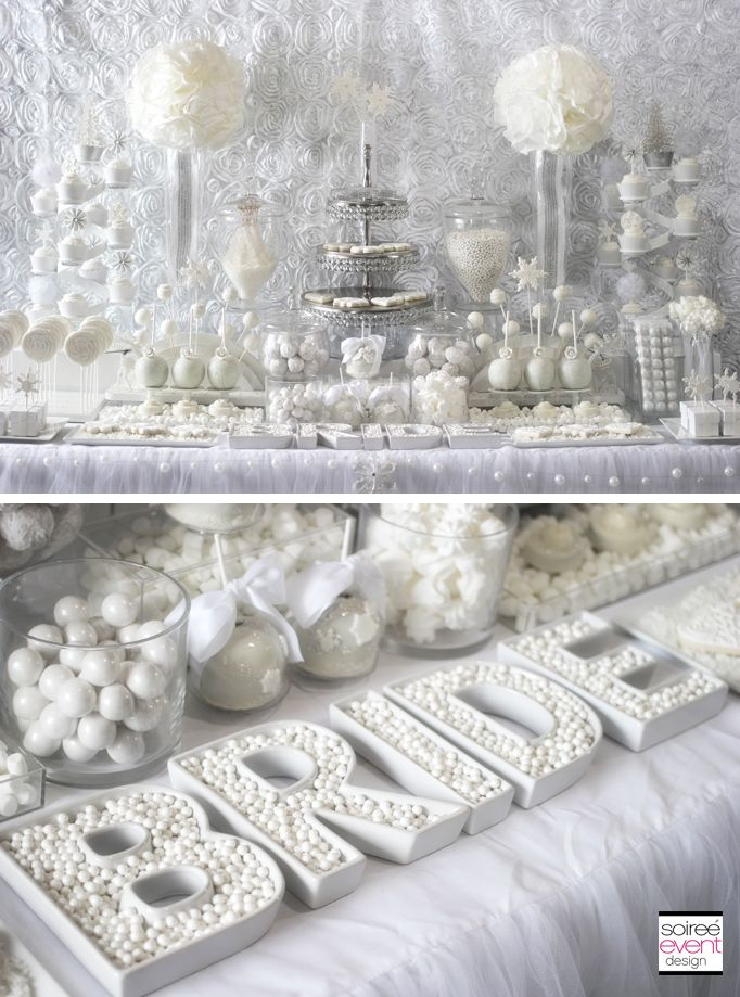 31d00013845 Winter White Bridal Shower Sweets Table by Soiree-EventDesign.com featuring  this fabulous BRIDE letter dishes by TomKat Studio!