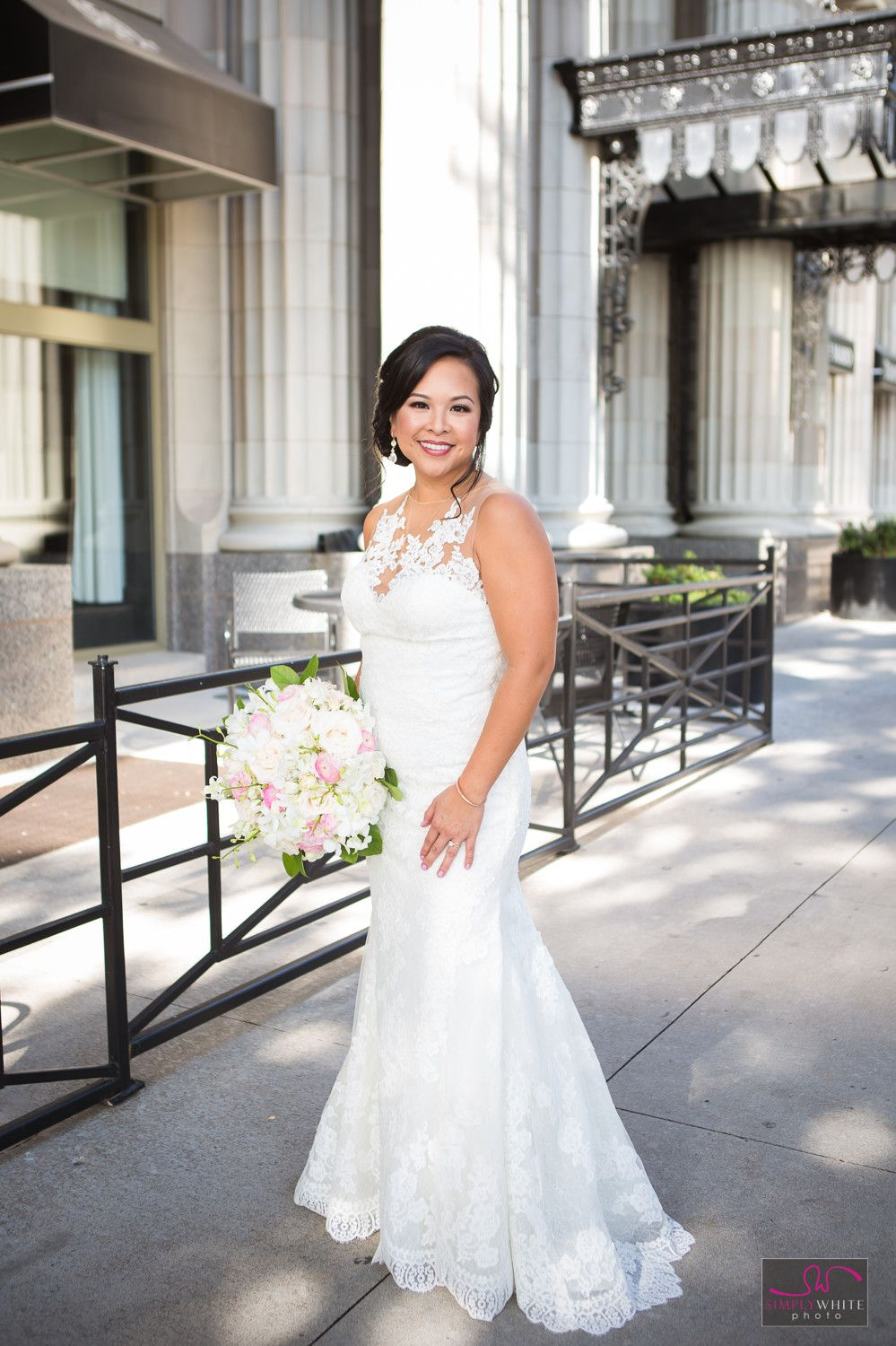 Gorgeous bride outside the mayo hotel in downtown Tulsa.Lace Wedding ...