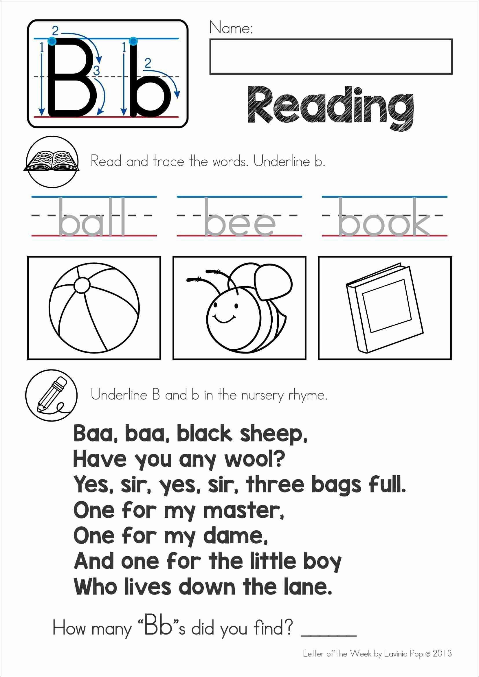 Nursery Rhymes Worksheets For Preschoolers Free Back To