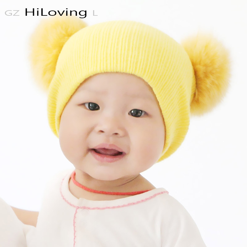 21ce13dfa23 ... 2016 Cute Winter Beanie Hat With Fox Fur Pompom Knitted Hat For Baby  Girls Boys Kids Child Soft Warm Double Fur Ball Gorros Caps 7.79    buyonlinewebsite