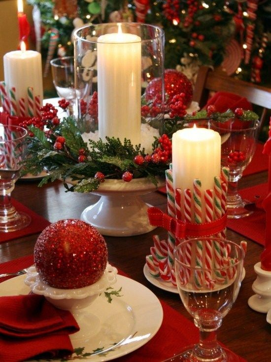 Christmas Table Decoration Red And Green