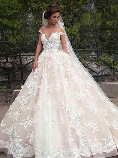 2018 Vintage Wedding Dress Cheap Ball Gown Wedding Dress