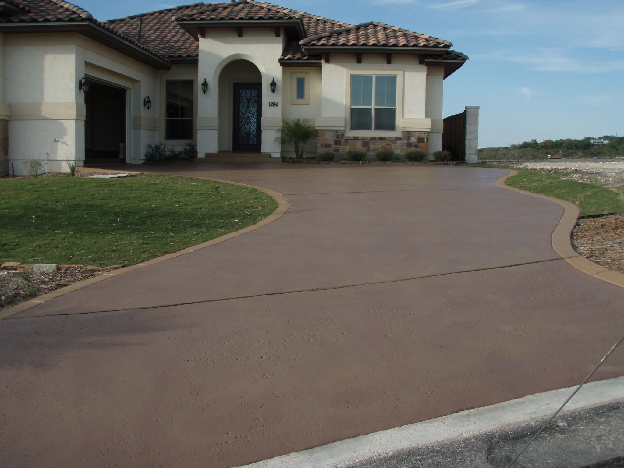 Stained driveway back yard inspiration pinterest driveways stained concrete driveway and for Exterior concrete driveway paint