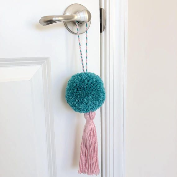 Pink And Teal Pom Pom Tassel Door Knob Hanger Room Decor